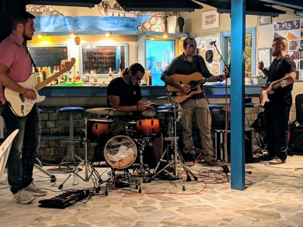 J. Magkakis and his band playing live rock music! Only at Kalymnos Climbing Festival 2019